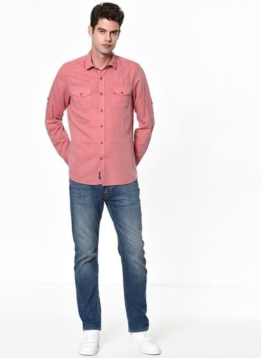 Cep Detaylı Uzun Kollu Gömlek-Mavi